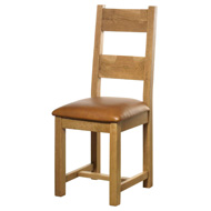 Dining Chair with Leather Seat Pad